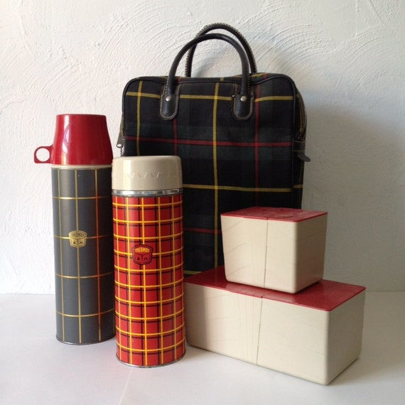 Vintage Thermos Plaid Picnic Set with Tote