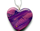 Pendant necklace  - Purple and pink marble stone effect heart