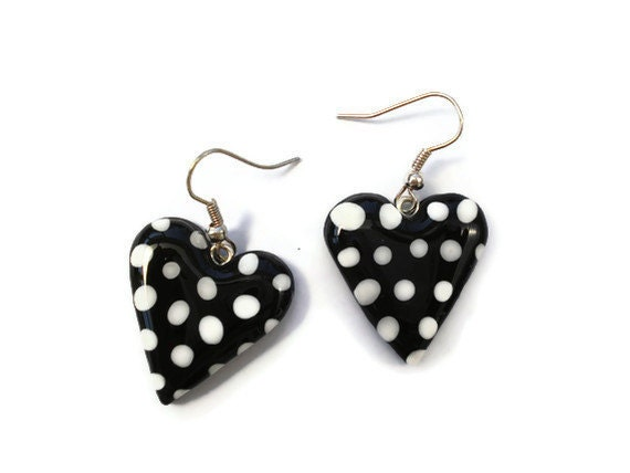 Black and White Polka Dot Heart Earrings by KireinaJewellery Craft Juice from craftjuice.com