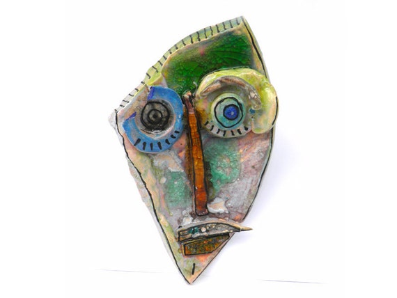 Abstract ceramic face (Wall Art), Handmade sculpture of head, Ceramic home decor