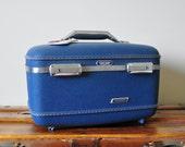 Blue Vintage Luggage Train Case