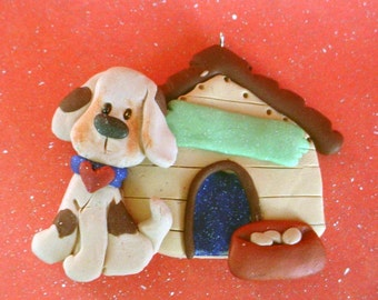 Puppy Dog DogHouse Christmas Ornament Polymer Clay Milestone Cake Topper Food Bowl Bone 1st Pet Sitter Kennel Owner Breeder Walker Birthday