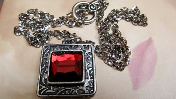 Red Rose Necklace, Antique Silver Necklace, Victorian Style, Gothic Jewelry, Red Crystal Stone Jewelry, Filigree Pendant