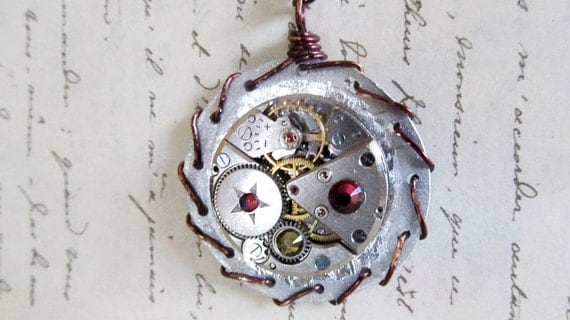 Steampunk Jewelry, Clock Gears Pendant, Steampunk Necklace, Gothic Jewelry, Authentic Steampunk Watch Part Jewelry