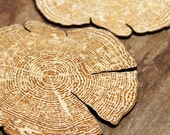 Custom engraved tree ring coasters made from laser cut wood- set of 4