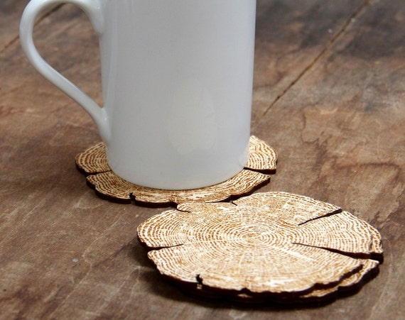 Rustic tree ring coasters made from laser cut wood set of 4