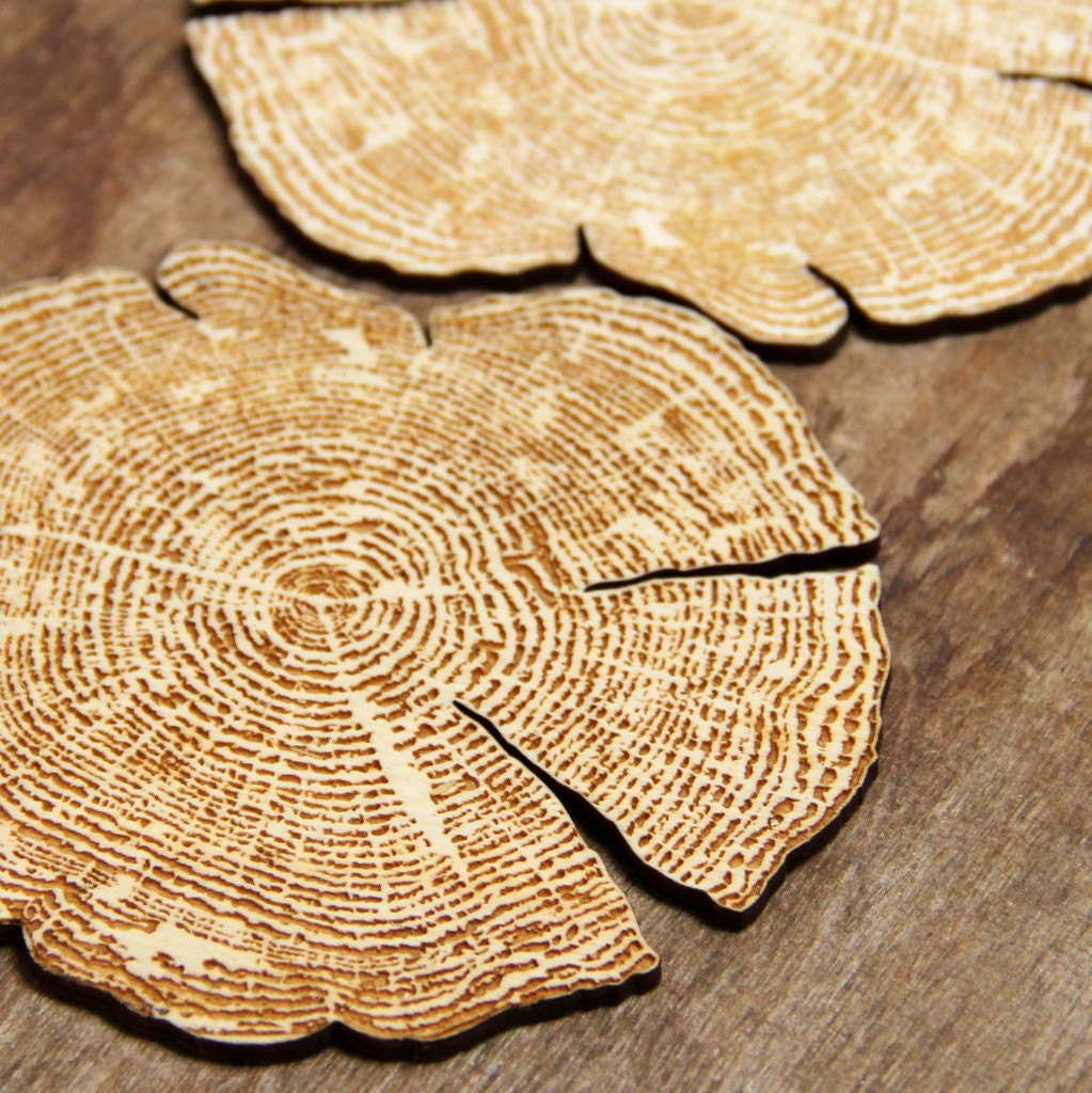 Custom Engraved Tree Ring Coasters Made From Laser Cut Wood