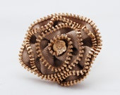 Steampunk Tan Fabric Rosette with Gold Metal Zipper Pin/Brooch