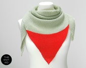 pastel green neon bright  red triangle scarf merino theknitkid