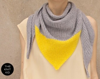 INSTANT SHIPPING! cashmere merino angora triangle scarf grey yellow  the knit kid theknitkid