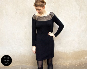 knitted dress bulky mohair merino silk black the knit kid