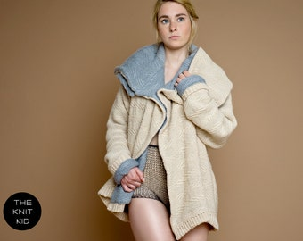knit sweater jacket coat bulky beige grey merino angora wool the knit kid