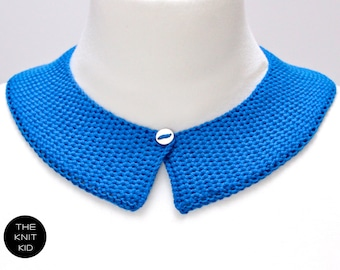 knitted collar cobalt blue cotton theknitkid