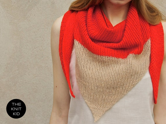 mohair cotton triangle scarf orange red beige  the knit kid