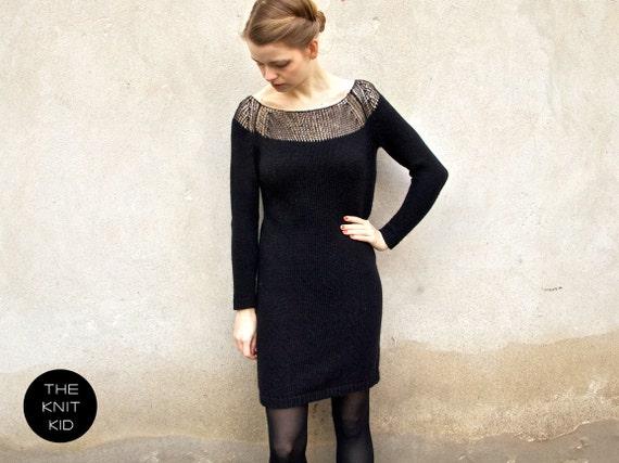 knitted dress bulky mohair merino silk black the knit kid
