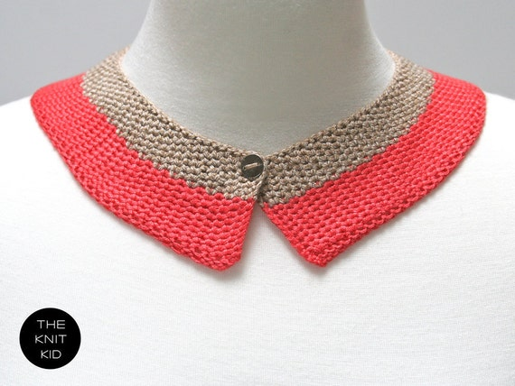 knitted collar coral beige  red pink cotton theknitkid