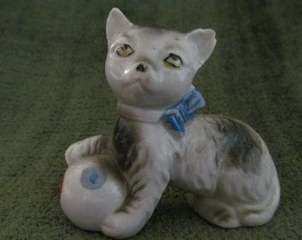Vintage Black and Light Gray Cat with Ball