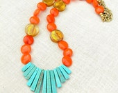 Egyptian Necklace, Spring and Summer, Mayan, Art Deco, Mod, Hipster, Faux Turqouise Fan