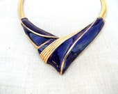 Vintage Necklace, Statement Bib, Purple and Gold, Retro Jewelry