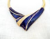 Vintage Necklace, Statement Bib, Purple and Gold, Retro Jewelry