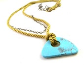 Modern Rope Necklace, Summer, Mod, Boho, Turquoise