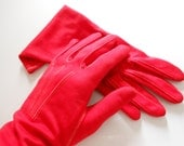 Red Ladies Gloves Circa 1960s
