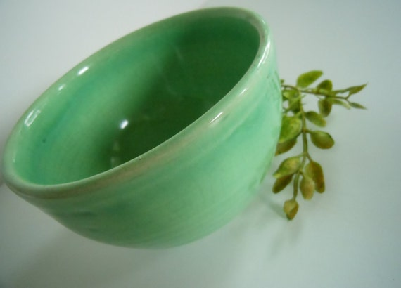 Small Vintage Green Pottery Bowl