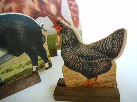 Vintage Farm Animal Figures with Wooden Stands