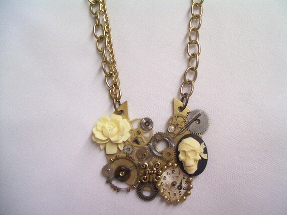 STEAMPUNK Necklace UNIQUE Vintage Pocket Watch Parts Skull Rose Brass Gear  Wheels  Watch Face Two Tone Pendant  Mechanical by DKsSteampunk
