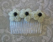Ivory & Black French Beaded Flower Trio Hair Comb