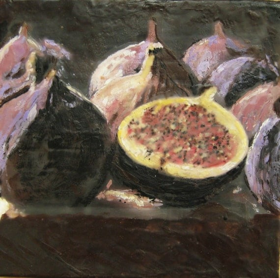 """Figs and more Figs,      encaustic, 12""""x12"""" on birch."""