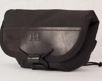 Hip Pouch - Leather and Black Cordura, Velcroless Medium