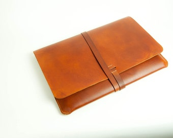 "Leather MacBook Pro 15"" Case/Portfolio - Saddle Tan color  Made from veg tan leather, 100% hand stitched."