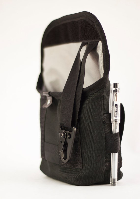 Hip Pouch - Leather and Black Cordura, Medium