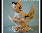 Vintage 1955 Geo. Z. Lefton Angel on Crescent Moon With Rhinestones