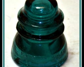 "4""x 4"" Hemingray 42 Green Glass Insulator Screw-On Type Made in the USA"