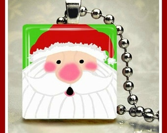 Christmas Glass Tile Pendant Santa One Inch 24 inch Silver Plated Ball Chain Included
