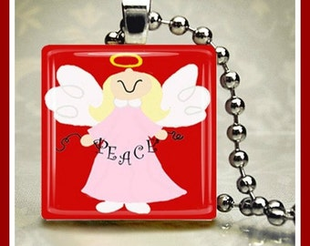Christmas Glass Tile Pendant Christmas Angel One Inch 24 inch Silver Plated Ball Chain Included