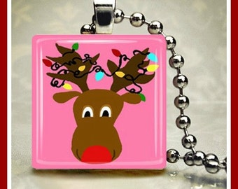 Christmas Glass Tile Pendant Santa's Reindeer Pink One Inch 24 inch Silver Plated Ball Chain Included
