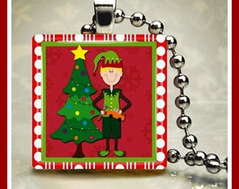 Christmas Glass Tile Pendant Santa's Elf-1 One Inch 24 inch Silver Plated Ball Chain Included