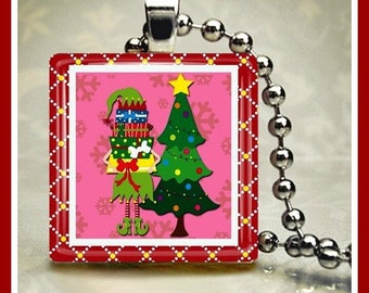 Christmas Glass Tile Pendant Santa's Elf-2 One Inch 24 inch Silver Plated Ball Chain Included