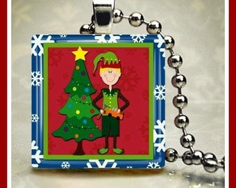 Christmas Glass Tile Pendant Santa's Elf-3 One Inch 24 inch Silver Plated Ball Chain Included