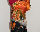 Oriental floral print one sleeved silky sheath dress- Size Small