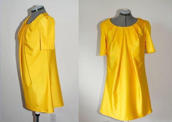 Lemon Yellow Mod Dress- Size Medium