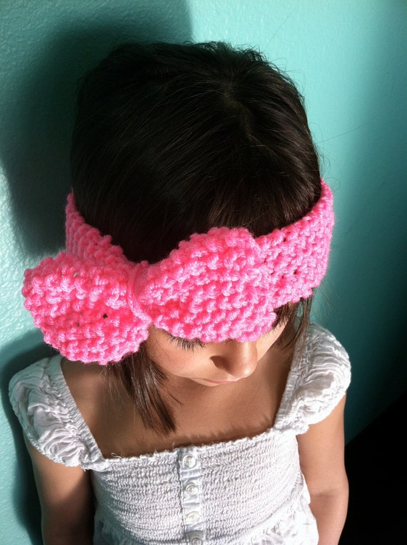 Little GIRL KNIT HEADBAND Hot Pink with Bow Headband/Earwarmer, Knitted Head Band, Little Girl Bow Headband