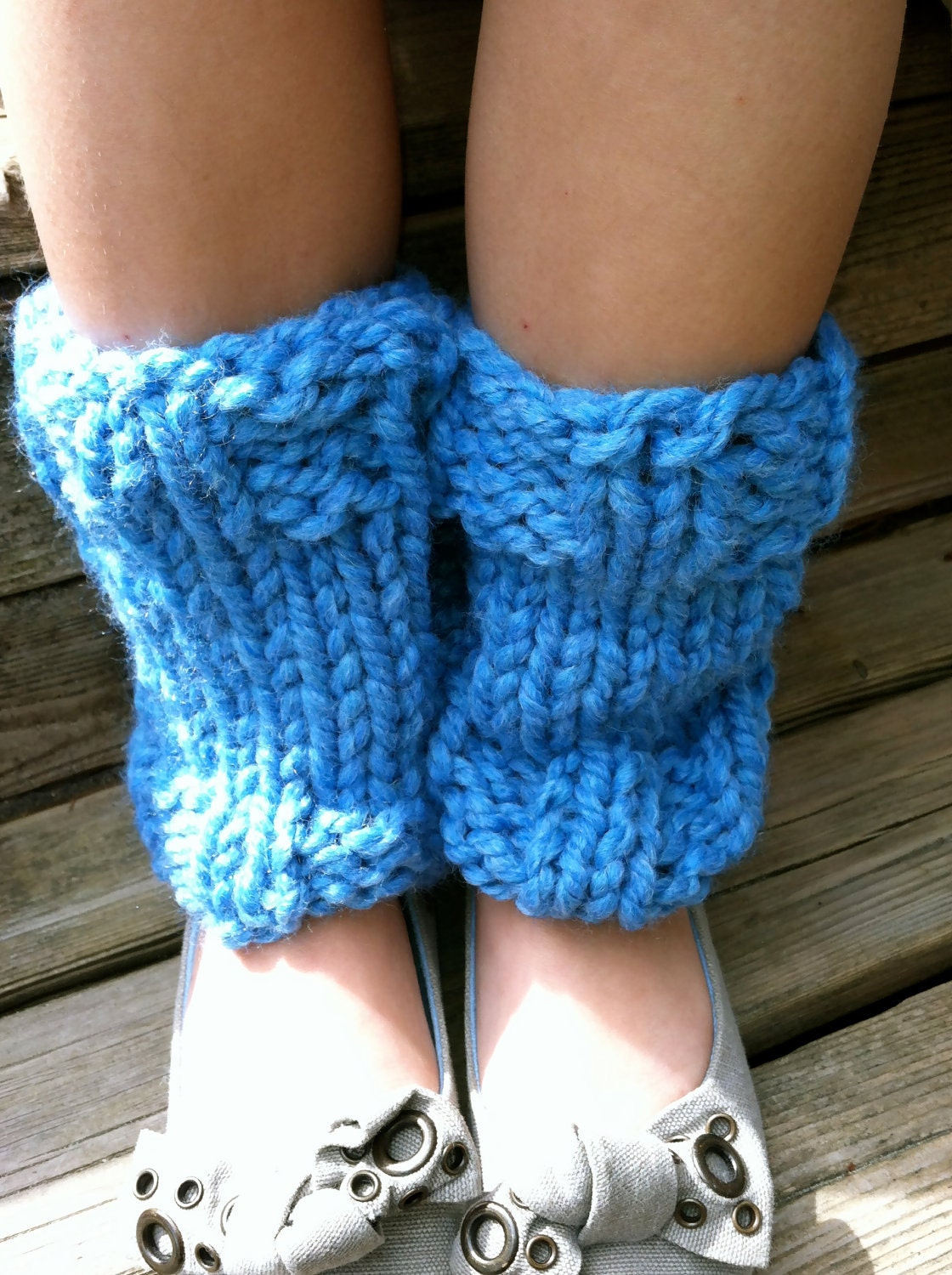 Knitting Pattern For Chunky Leg Warmers : KNIT LEG WARMERS Indigo Blue Chunky Knit Hand Knitted Leg