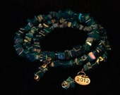 Blue Chip Bead Memory Wire Bracelet