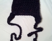Crochet Black Multi-Color Thickie Hat with Earflaps and Tassels