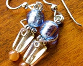 Blue Earrings: Murano Glass Beads with Sterling Silver