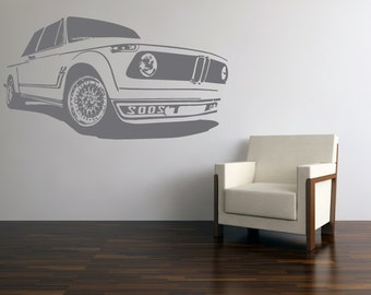 Vinyl Wall Decal Art 70s BMW 2002 Sticker